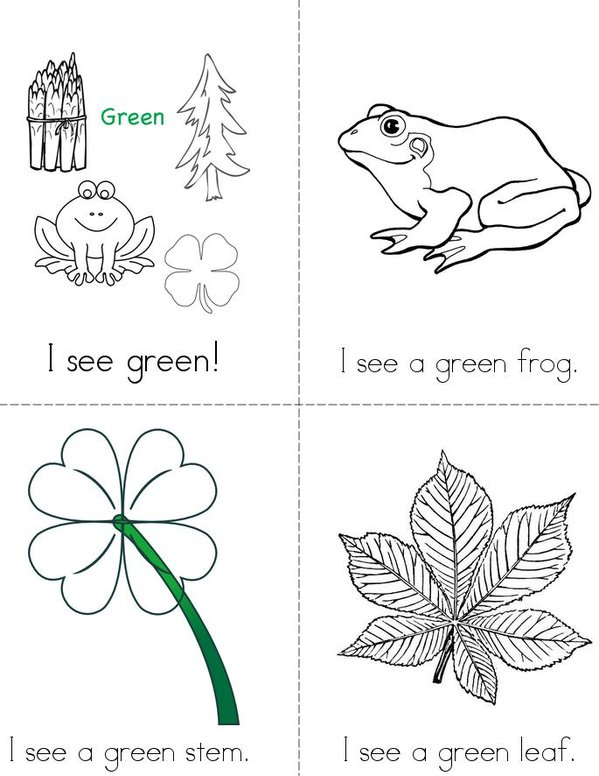 I See Green  Mini Book - Sheet 1