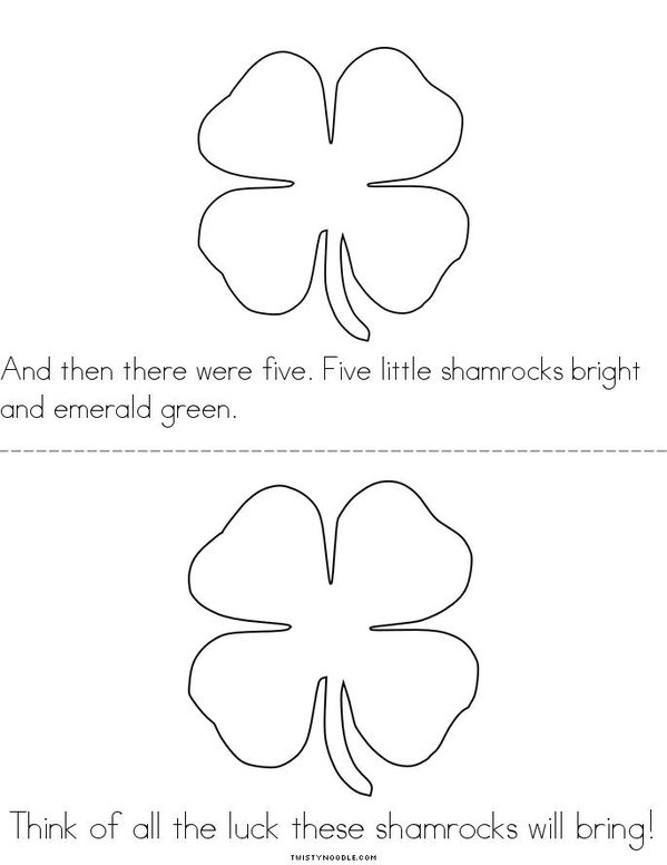 5 Little Shamrocks Mini Book - Sheet 3