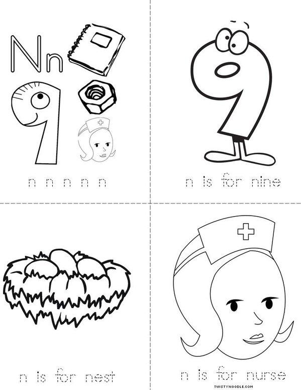 Letter N Mini Book
