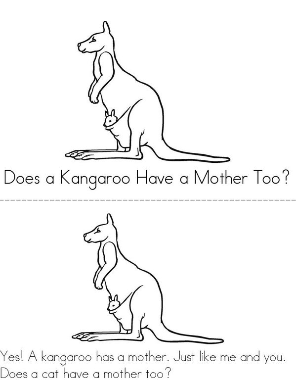 Does A Kangaroo Have A Mother Too? Mini Book - Sheet 1