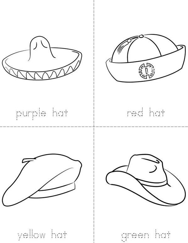 Colorful Hats Mini Book - Sheet 1
