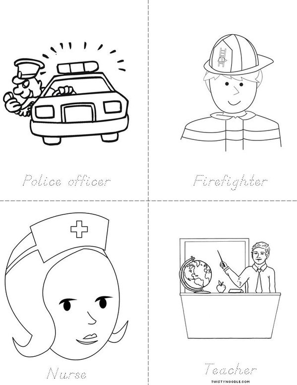Community helpers book twisty noodle for Community places coloring pages
