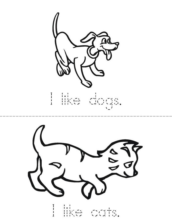 I Like Animals Mini Book - Sheet 1