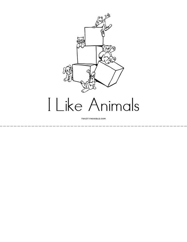 I Like Animals Mini Book - Sheet 4