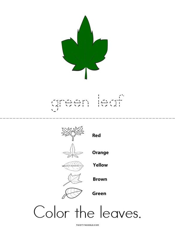Color the Leaves Mini Book - Sheet 2