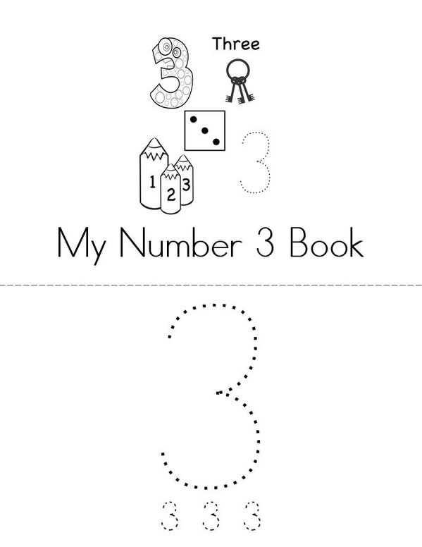 My Number 3 Book Mini Book - Sheet 1