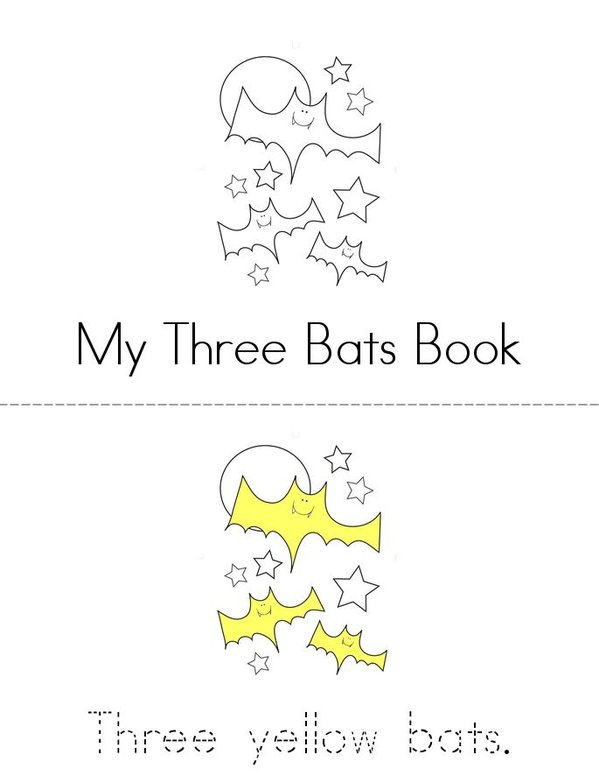 My Three Bats Book Mini Book - Sheet 1