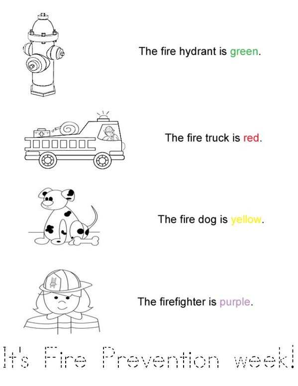 Fire Prevention Week Mini Book - Sheet 1