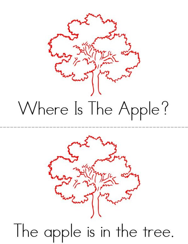 Where Is The Apple? Mini Book - Sheet 1