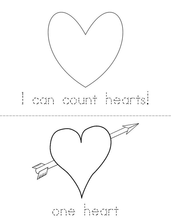 I can count hearts! Mini Book - Sheet 1