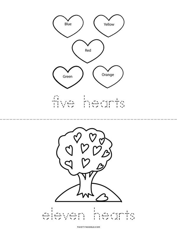 I can count hearts! Mini Book - Sheet 3
