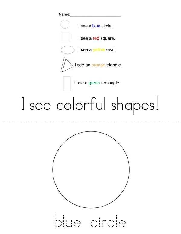 I See Colorful Shapes Mini Book - Sheet 1