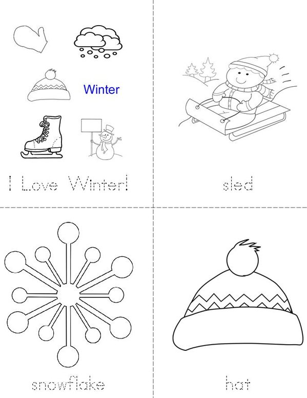 I Love Winter Mini Book - Sheet 1
