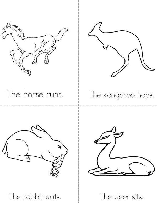 Mammal Actions Mini Book - Sheet 1