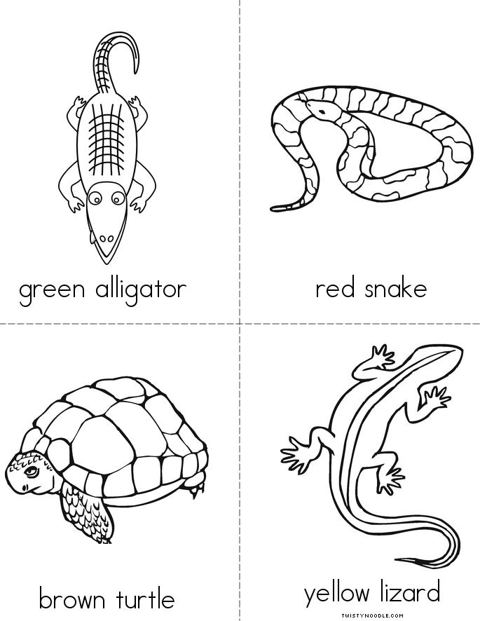 Reptile Colors Book Twisty Noodle Reptiles Coloring Pages