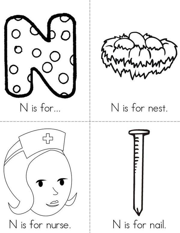 N is for... Mini Book - Sheet 1