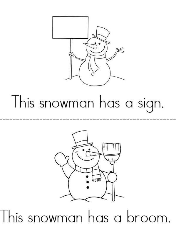 Snowman Book Mini Book - Sheet 1