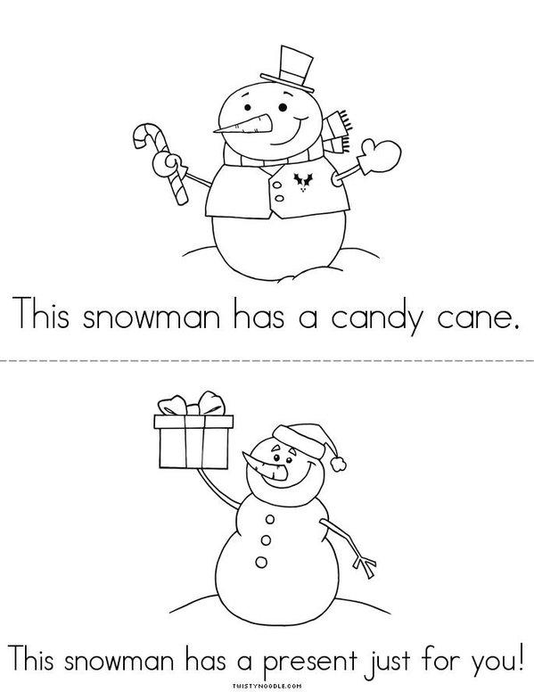 Snowman Book Mini Book - Sheet 2