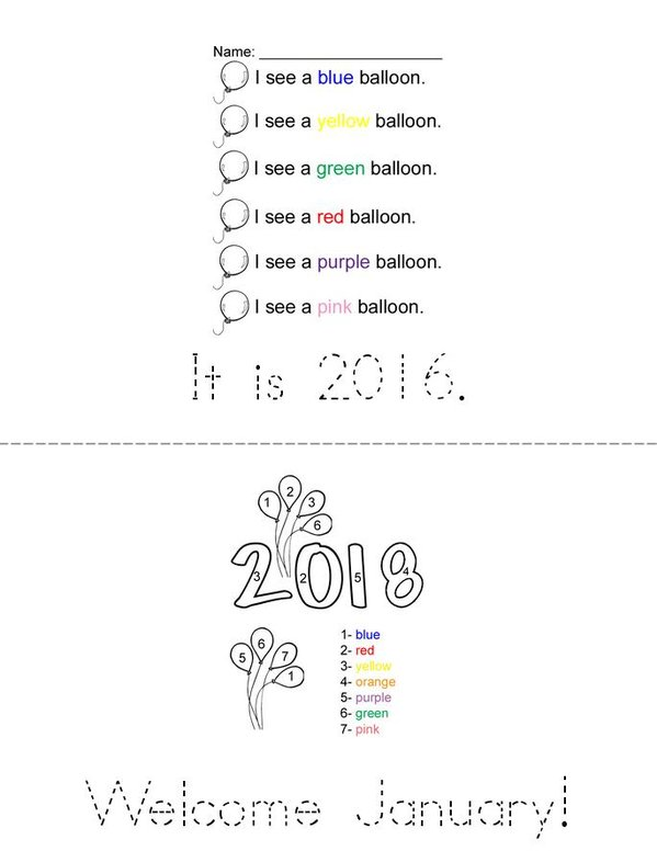 2016! Mini Book - Sheet 1