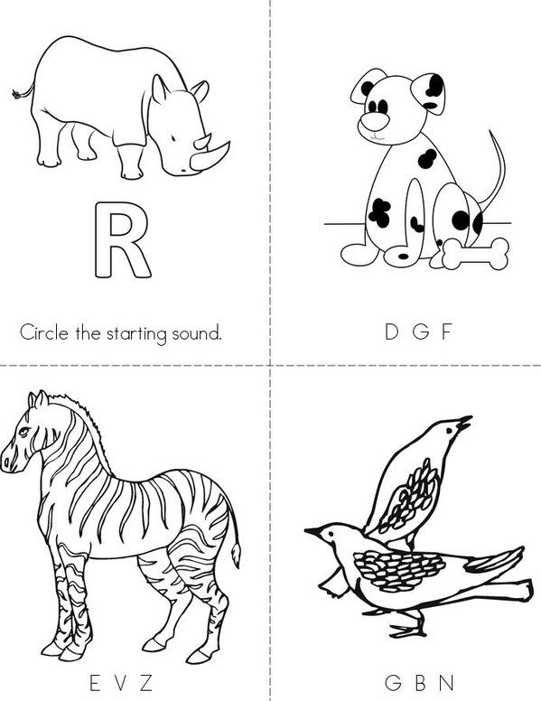 Animal Words Mini Book - Sheet 1
