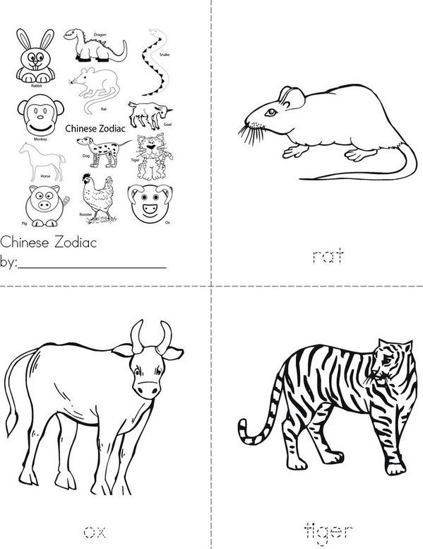 Chinese Zodiac Mini Book - Sheet 1