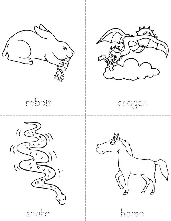 Chinese Zodiac Mini Book - Sheet 2
