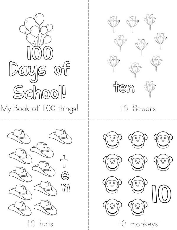 My book of 100 things! Mini Book - Sheet 1