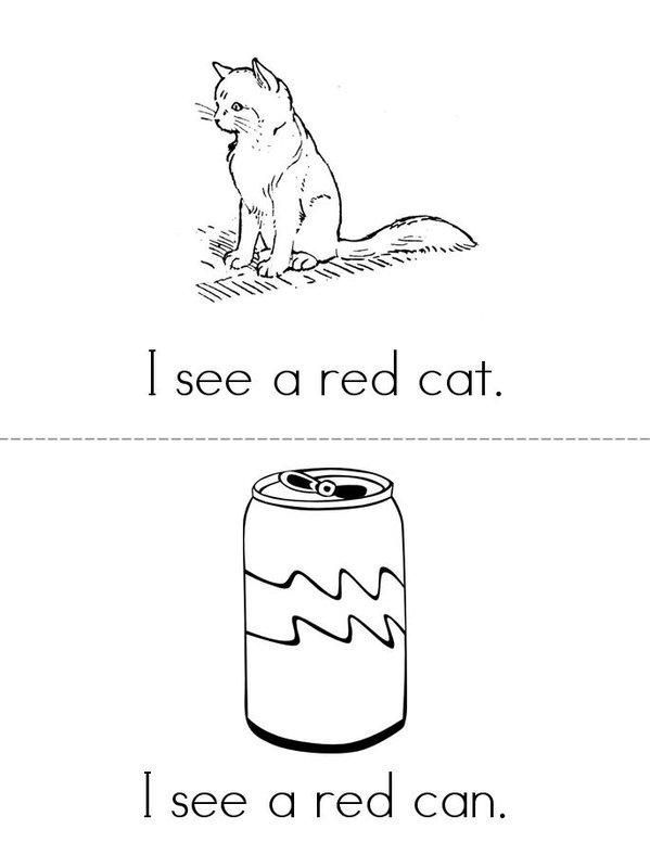 I See a Red Cat Mini Book - Sheet 1
