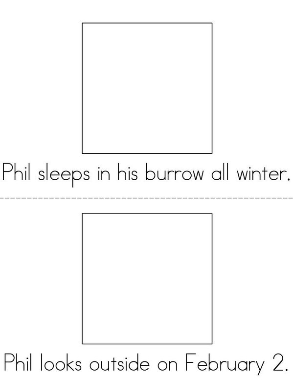 Phil the Groundhog Mini Book - Sheet 2
