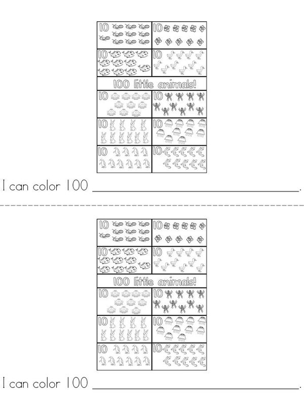 100th Day of Kindergarten Mini Book - Sheet 7