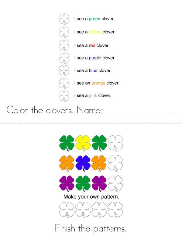 Leprechauns like Shamrocks! Mini Book - Sheet 1