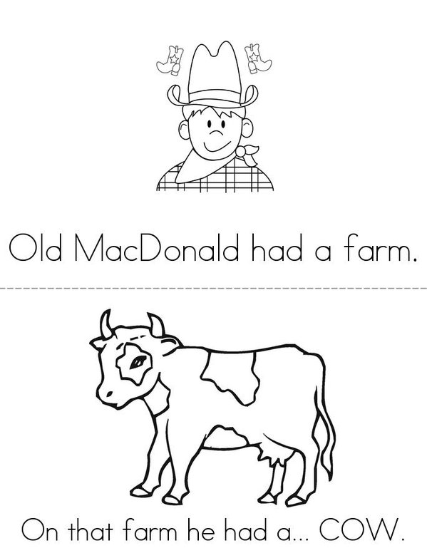 Old MacDonald Mini Book - Sheet 1