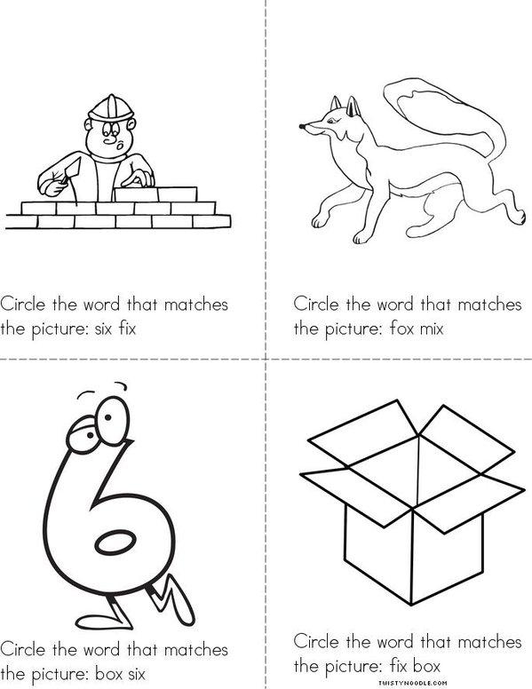 Circle the correct X Word Mini Book
