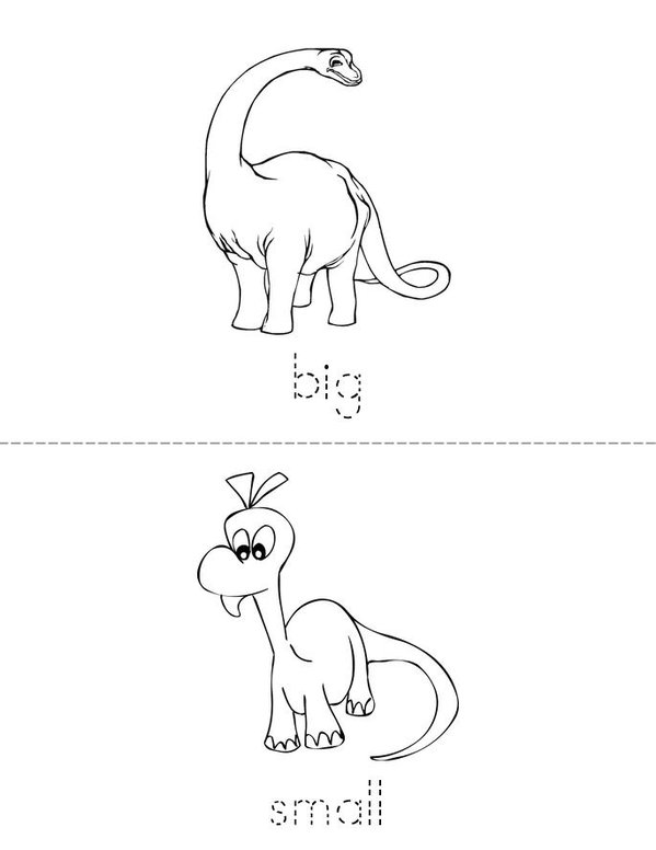Dinosaur Opposites Mini Book - Sheet 1