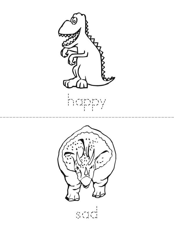 Dinosaur Opposites Mini Book - Sheet 2