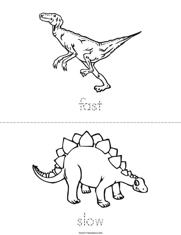 Dinosaur Opposites Mini Book - Sheet 3