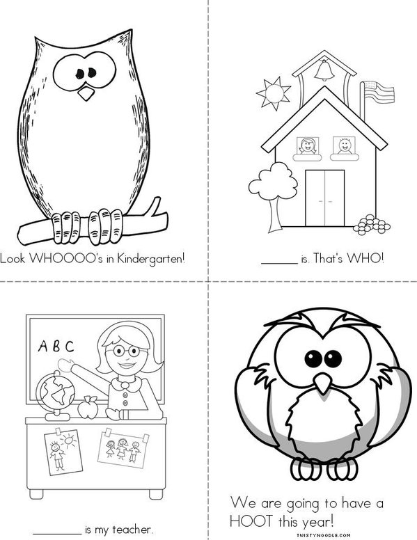 Look Whooo's in Kindergarten Mini Book