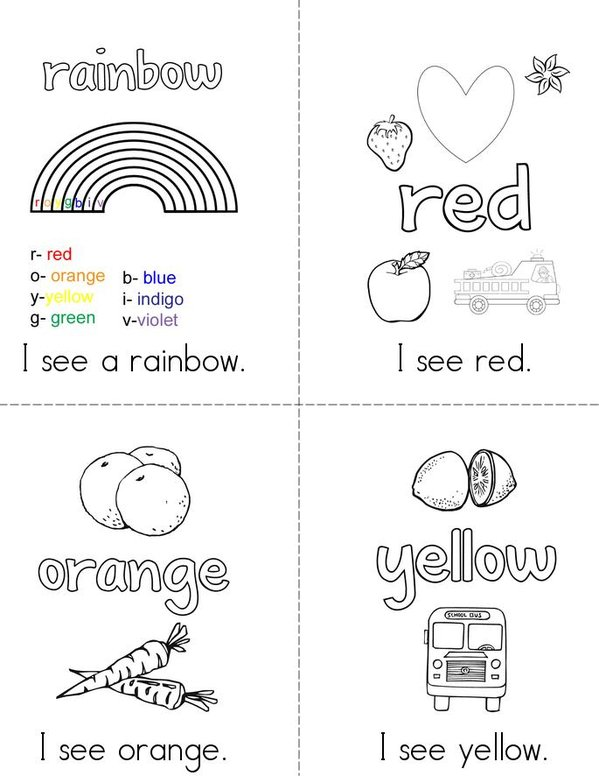 Rainbows Mini Book - Sheet 1
