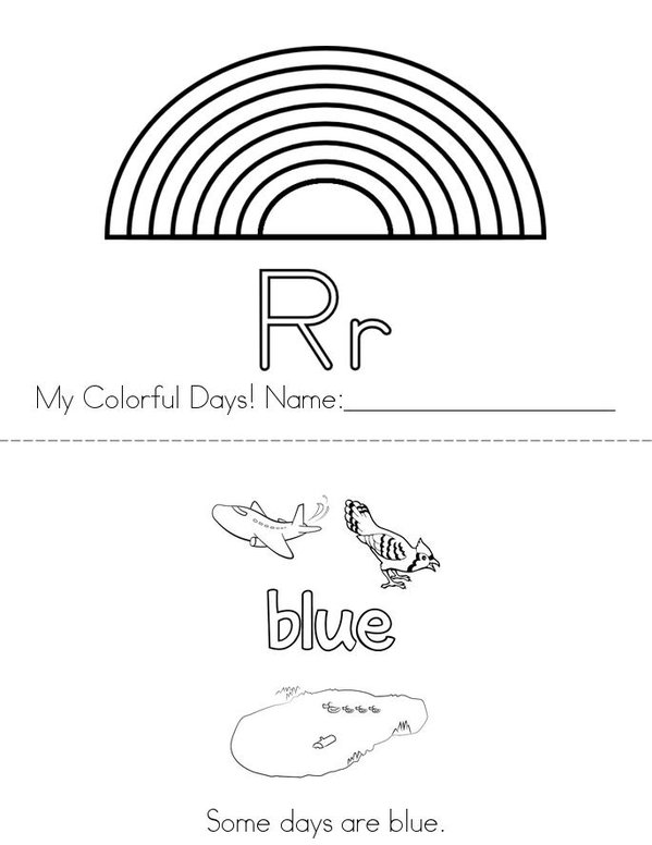Colorful Days Mini Book - Sheet 1