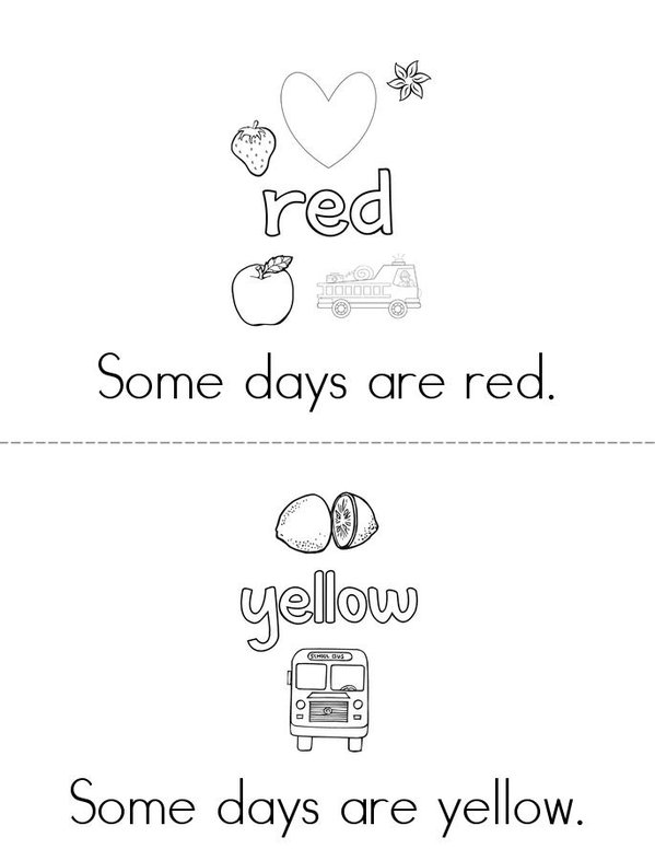 Colorful Days Mini Book - Sheet 2