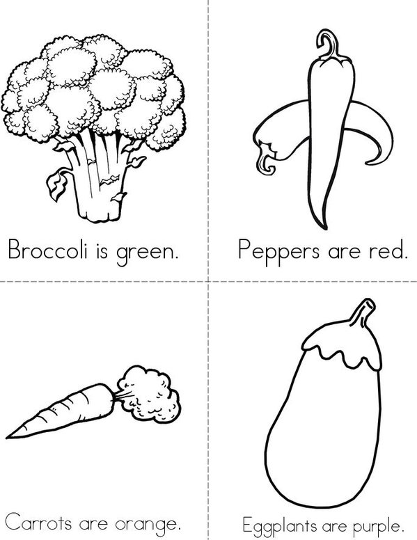 Veggie Colors Mini Book - Sheet 1