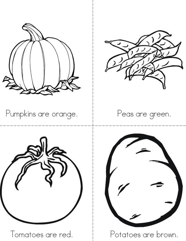 Veggie Colors Mini Book - Sheet 2