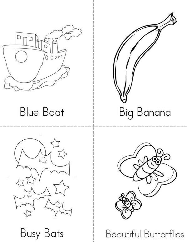 B Adjectives Mini Book - Sheet 1