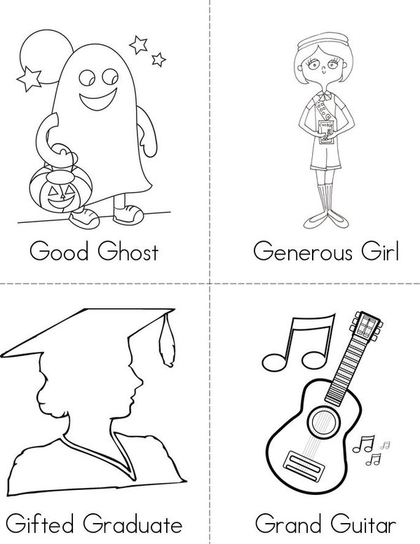 G Adjectives Mini Book - Sheet 1
