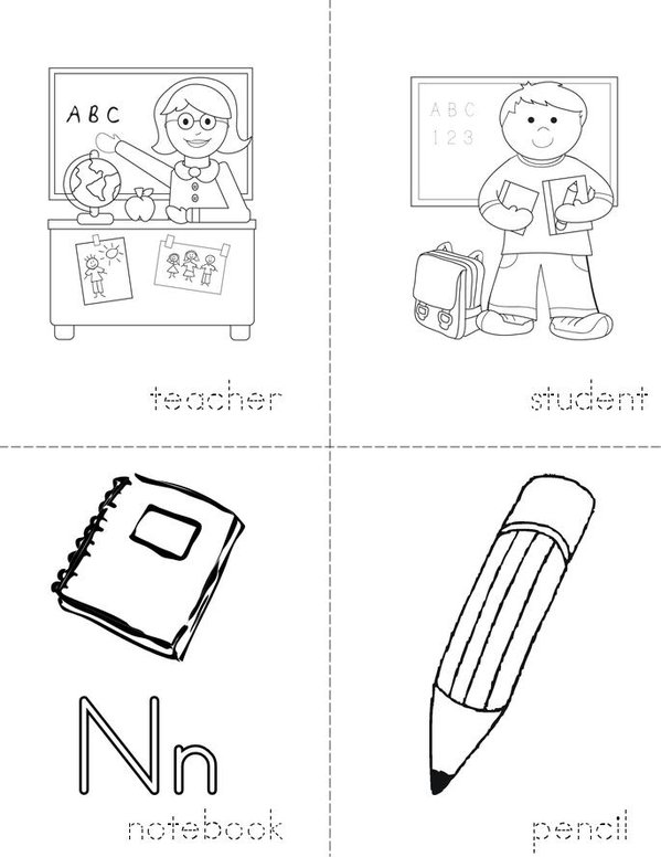 Classroom Vocabulary Mini Book - Sheet 1