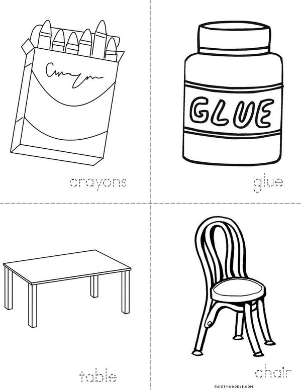 Classroom Vocabulary Mini Book - Sheet 2