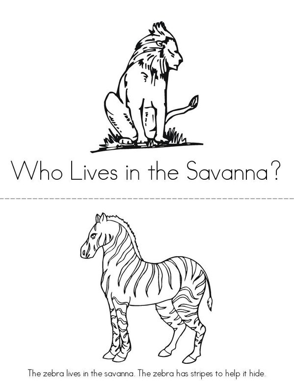 Who Lives in the Savanna? Mini Book - Sheet 1