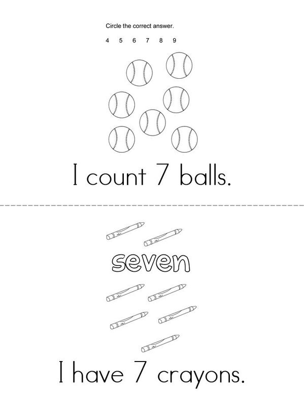 I count 7! Mini Book - Sheet 1