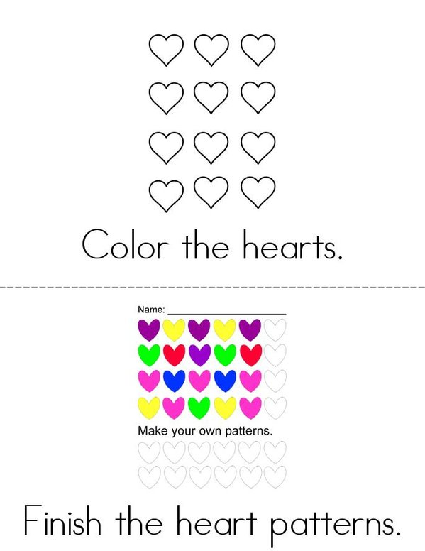 Hearts! Mini Book - Sheet 2