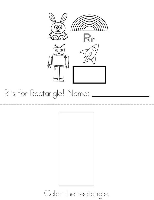 R is for Rectangle! Mini Book - Sheet 1